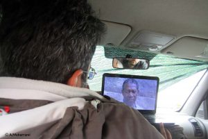 watching a movie in Car